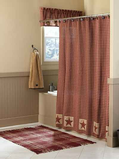 Sturbridge Patch Checked Shower Curtain 72X72 2 Color Choices