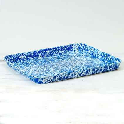 Jelly Roll Pan Or Rectangular Tray Marbled Enamelware